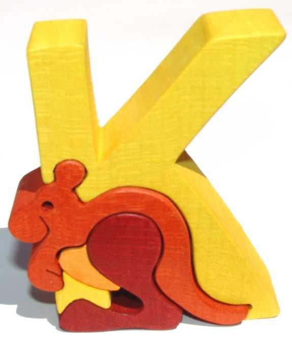 Dřevěné vkládací puzzle z masivu - Abeceda písmenko K klokan