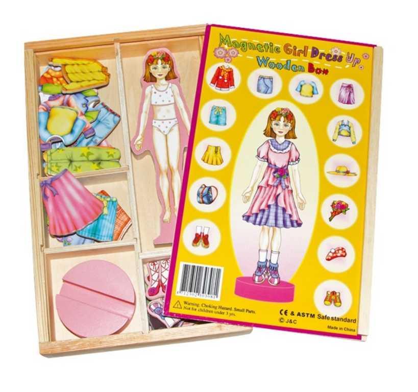 Dřevěné hračky - Převlékací magnetická panenka Magda