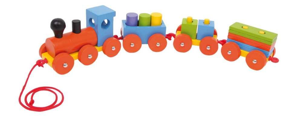 Dřevěné hračky - Dřevěný vláček s kostkami Speedy