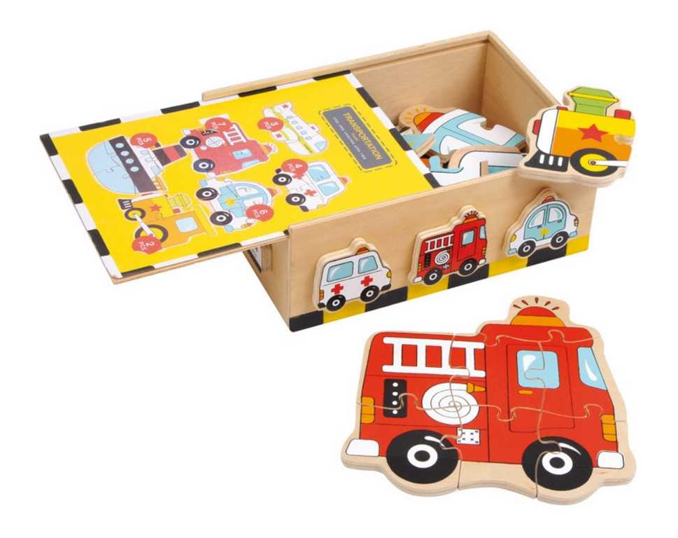 Small Foot Dřevěné hračky puzzle Box vozidla