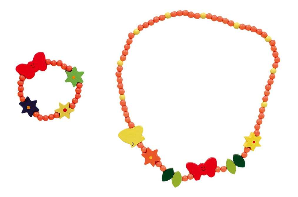 Dřevěná barevná sada - náhrdelník a náramek