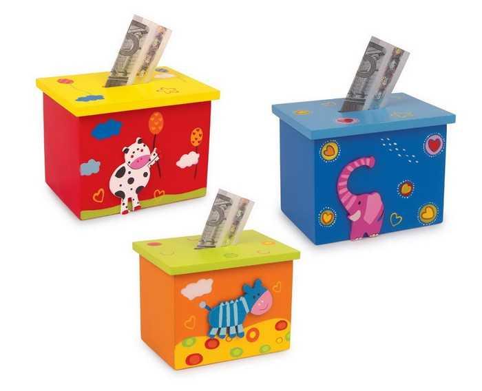 Dřevěné hračky -  Dřevěná pokladnička zvířátka 1ks