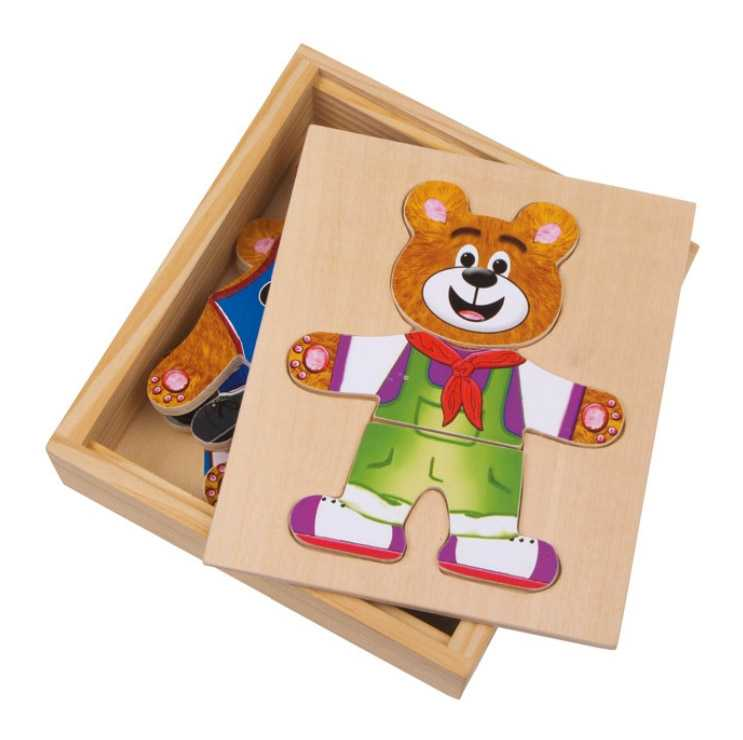 Dřevěné hračky - Dřevěné puzzle - Oblékání medvídků