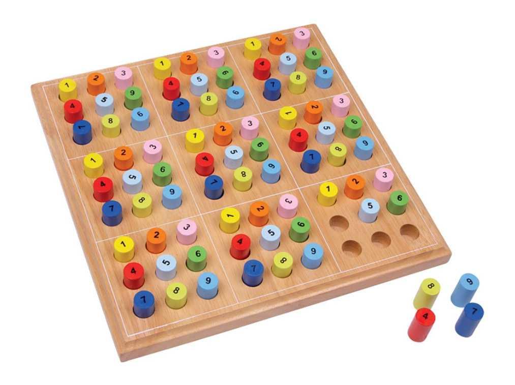Dřevěné hry - Dřevěné sudoku barevné válečky