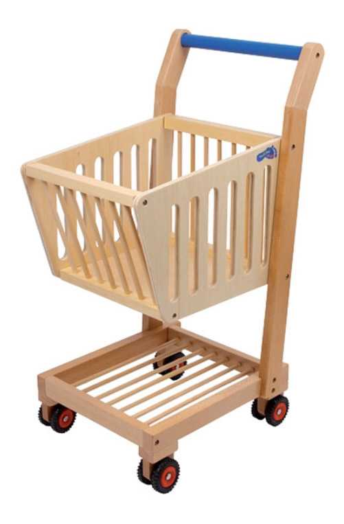 Dřevěná hračka - Dětský dřevěný nákupní vozík