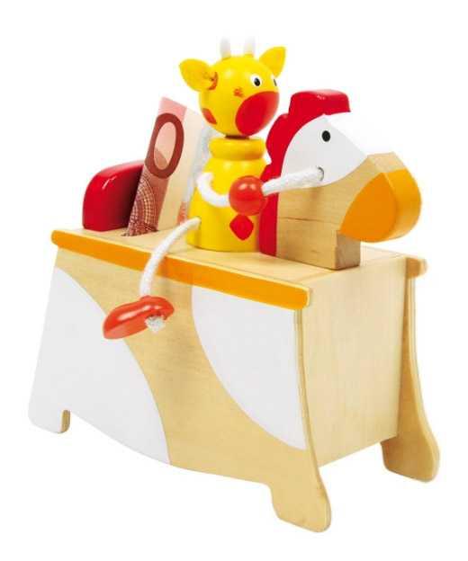Dřevěné hračky -  Dřevěná pokladnička kůň s jezdcem
