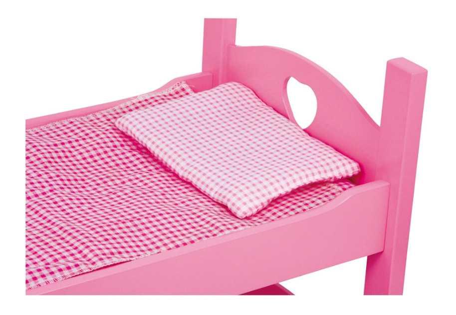Dřevěné hračky - Patrová postýlka pro panenky růžová