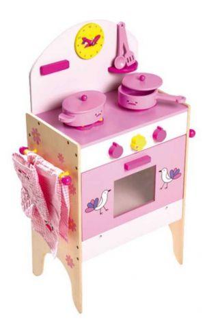 Small Foot Dětská dřevěná růžová kuchyňka pro panenky