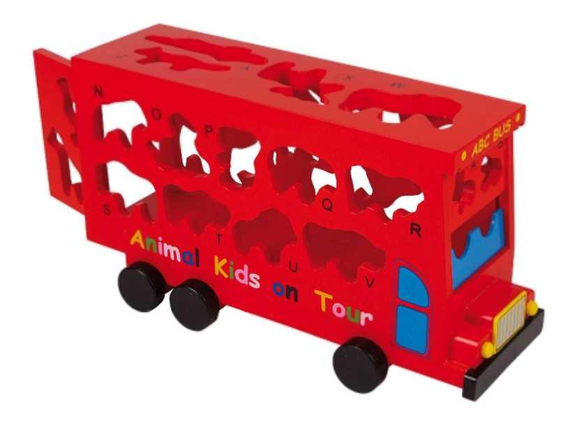 Small Foot Vkládačka dřevěný autobus se zvířátky