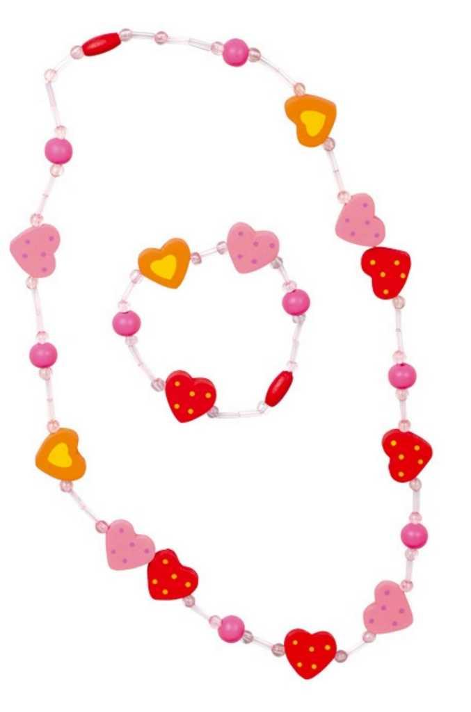 Dřevěná barevná sada - náhrdelník a náramek srdíčka