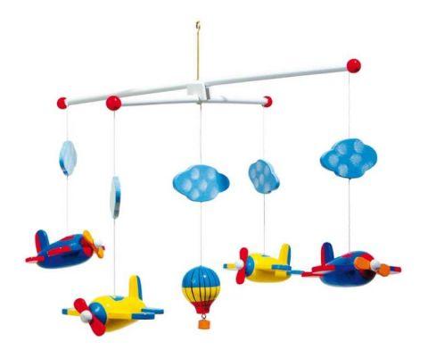 Dřevěné hračky pro nejmenší - Závěsný kolotoč - Letadla
