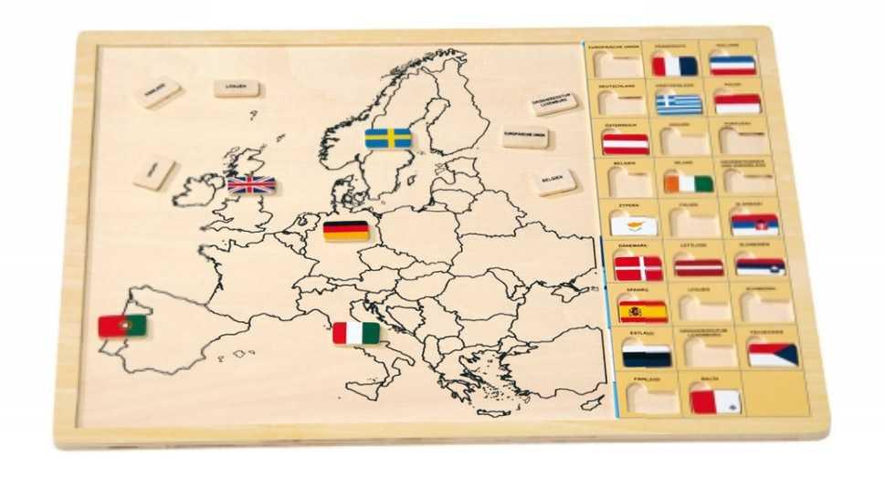 Dřevěné hračky - Vkládací puzzle - Vkládačka -Evropské státy