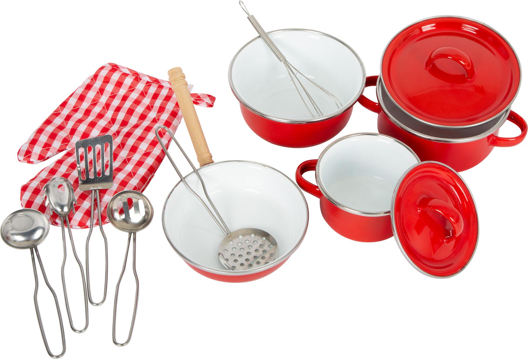 Small Foot Dětské kovové červené nádobí