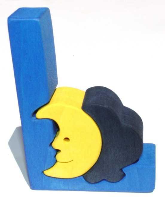 Dřevěné vkládací puzzle z masivu - Abeceda písmenko L luna