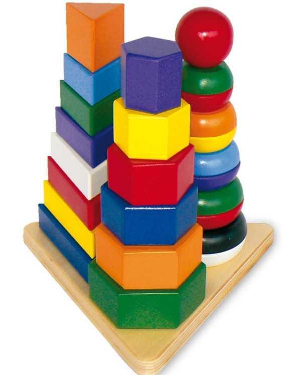 Dřevěné hračky - Dřevěná skládačka Pyramida 3v1