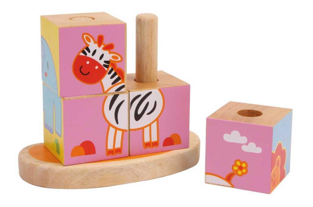 Dřevěná motorická hra - Obrázkové kostky na tyči