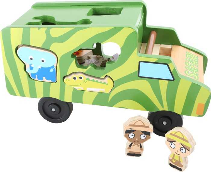 Dřevěná vkládačka - Autobus se zvířátky Safari