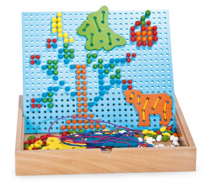 Dřevěné kreativní hračky - Nasouvací a navlékací puzzle