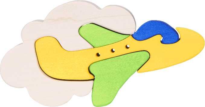 Fauna Dřevěné vkládací puzzle z masivu malé letadlo