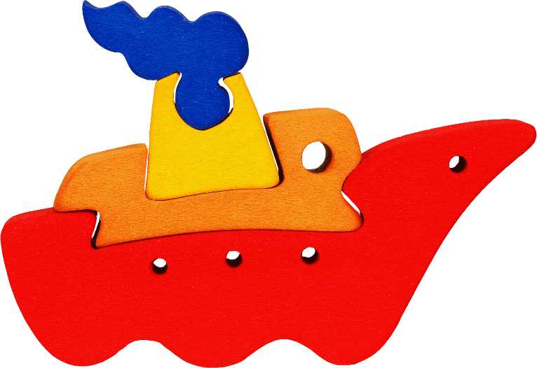 Fauna Dřevěné vkládací puzzle z masivu malá loďka