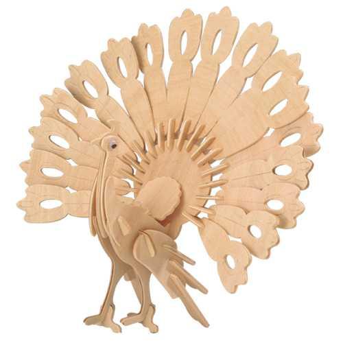 Woodcraft Dřevěné 3D puzzle páv