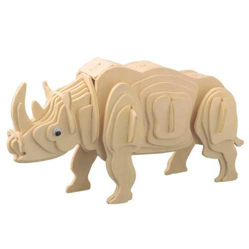Woodcraft Dřevěné 3D puzzle zvířata bílý nosorožec