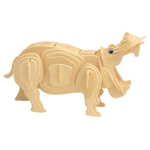 Woodcraft Dřevěné 3D puzzle hroch