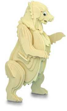 Woodcraft Dřevěné 3D puzzle zvířata medvěd Grizzly