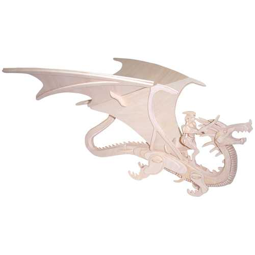 Woodcraft Dřevěné 3D puzzle zvířata drak a rytíř