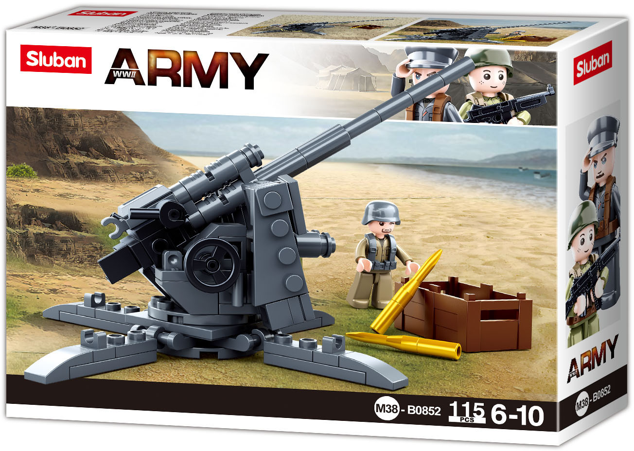 Sluban Army WW2 M38-B0852 Protiletadlový kanón