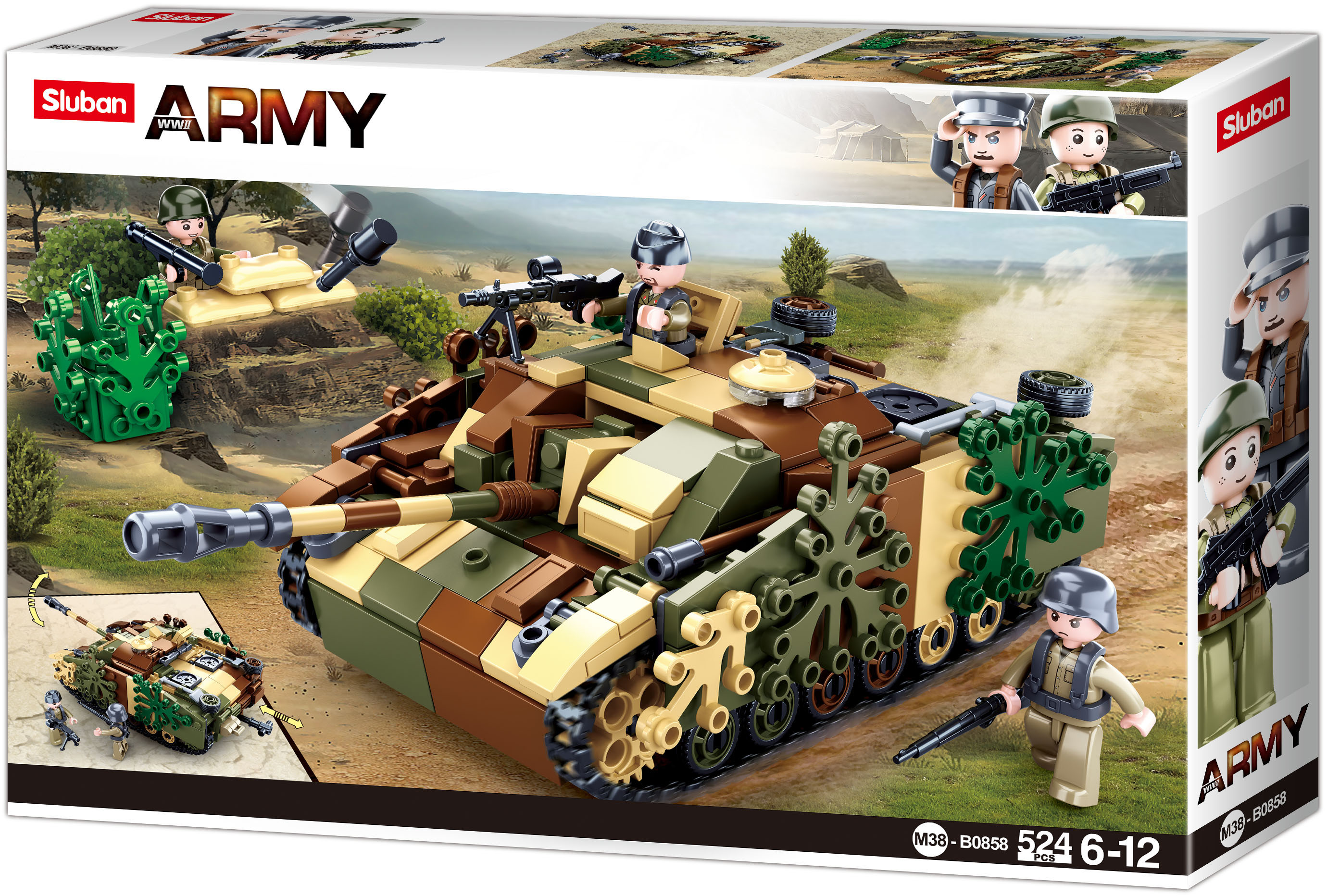 Sluban Army N38-B0858 Maskovaný obrněný tank