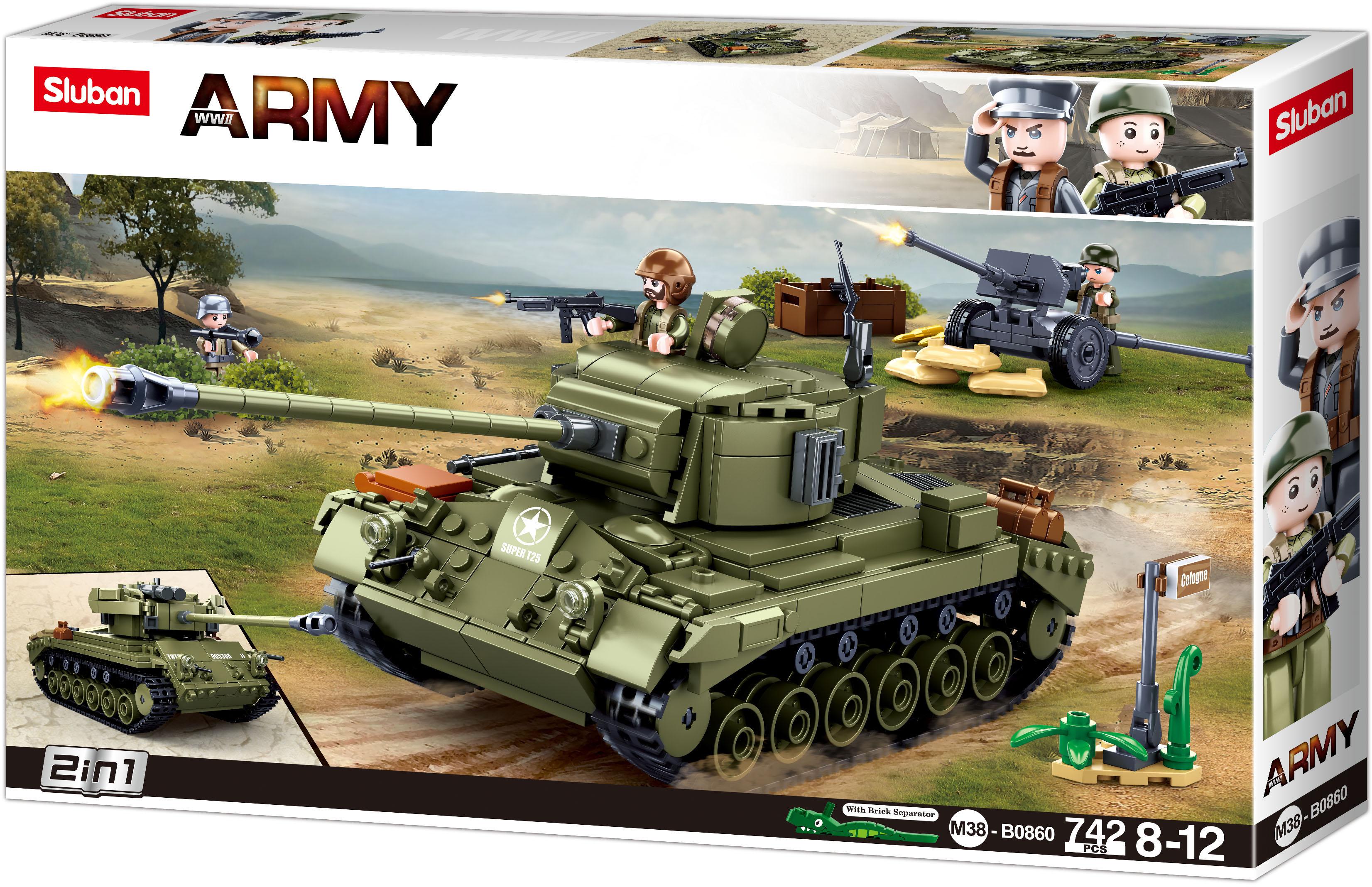 Sluban Army N38-B0860 Střední tank 2v1 a protiletecké dělo