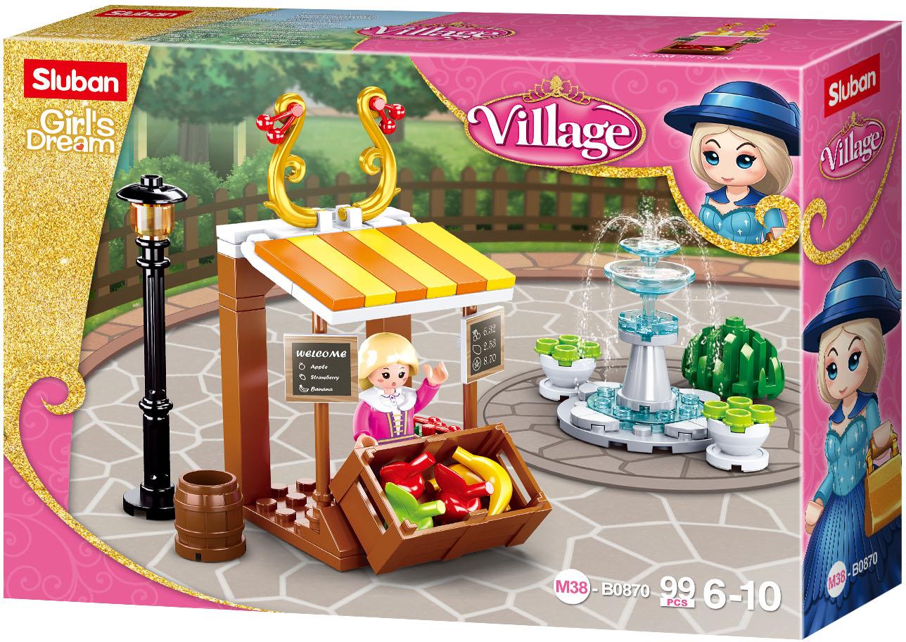 Sluban Girls Dream Village M38-B0870 Dobový stánek s ovocem a fontána
