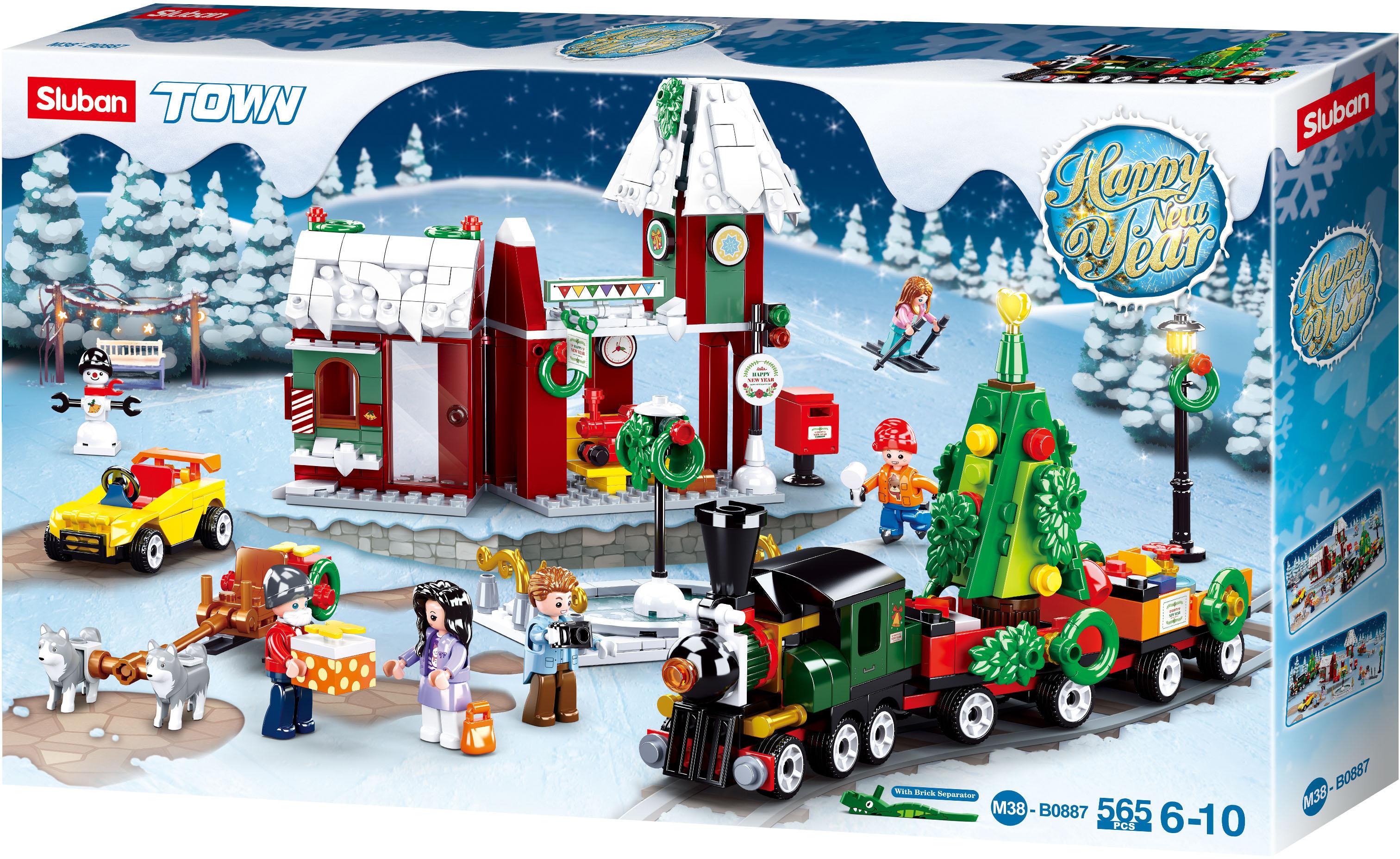 Sluban Town M38-B0887 Vánoční vesnice s vláčkem