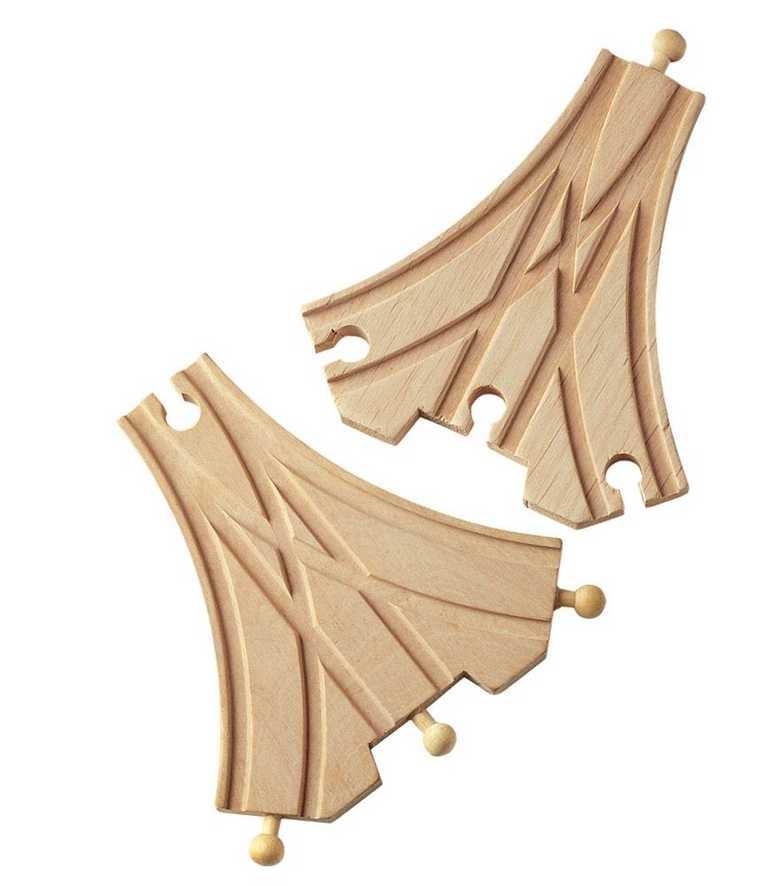 Dřevěné vláčkodráhy Maxim - Třícestná výhybka - 2ks