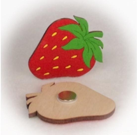 Dřevěné magnetky - Jahoda