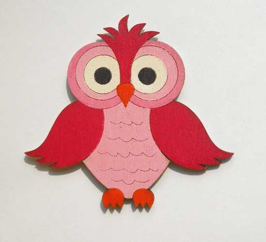 Dřevěné dekorace - dřevěné magnetky - Sova růžová