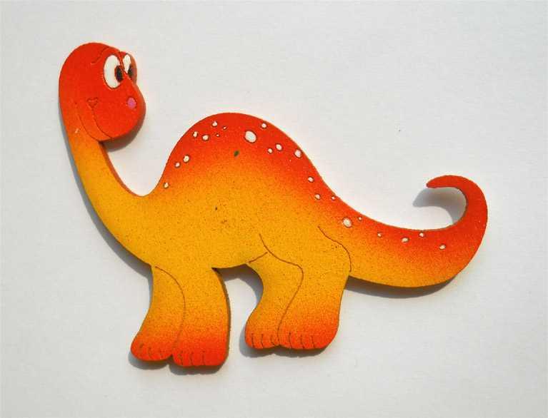 Dřevěné dekorace - dřevěné magnetky - Brontosaurus oranžový