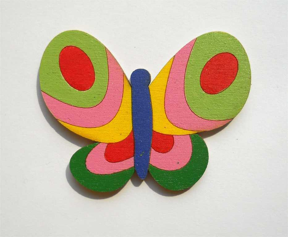 Dřevěné dekorace - dřevěné magnetky - magnetka Motýl zelený