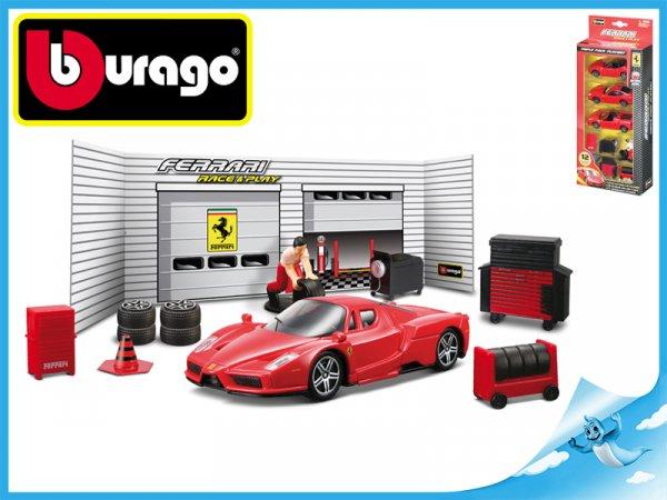Bburago Race & Play Ferrari sada pneuservis Ferrari model 1:43