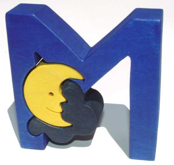 Dřevěné vkládací puzzle z masivu - Abeceda písmenko M měsíc
