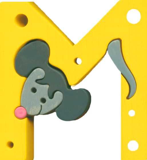 Dřevěné vkládací puzzle z masivu - Abeceda písmenko M myš