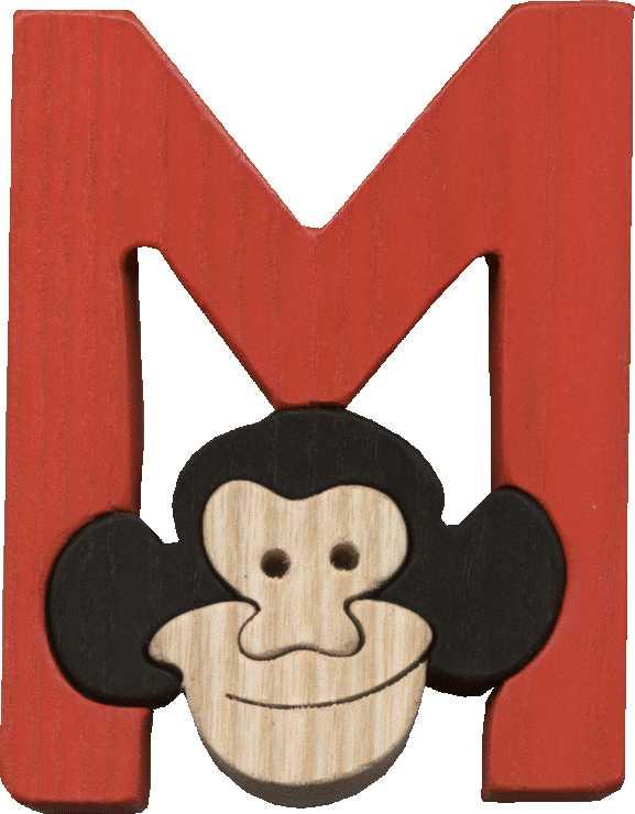 Dřevěné vkládací puzzle z masivu - Abeceda písmenko M opička
