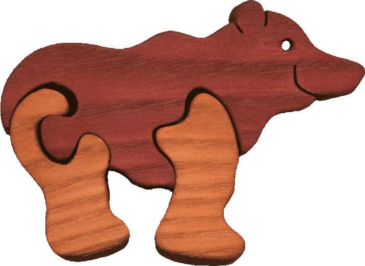 Fauna Dřevěné vkládací puzzle z masivu malý medvěd