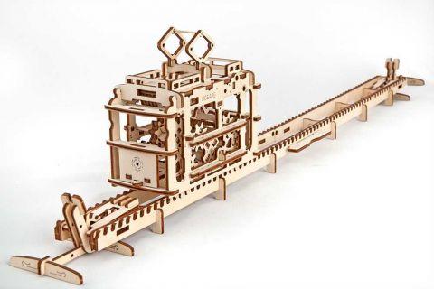 Ugears 3D dřevěné mechanické puzzle Tramvaj