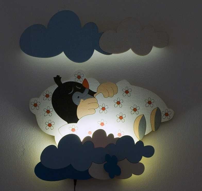 DoDo Dětská LED lampička krtek v peřince (s dálkovým ovladačem)