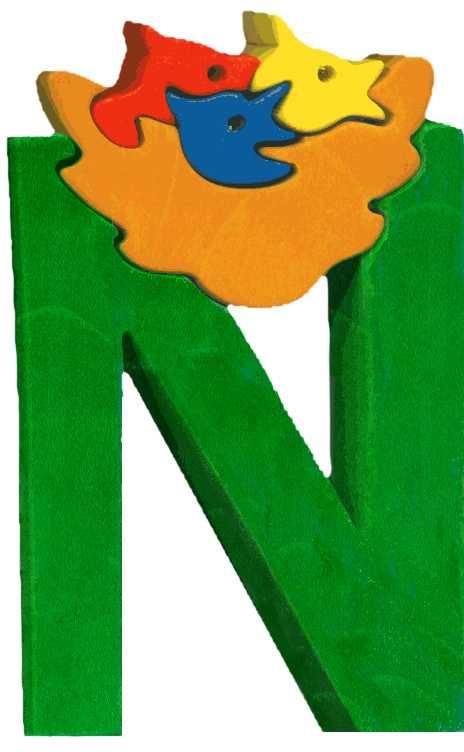 Dřevěné vkládací puzzle z masivu - Abeceda písmenko N hnízdo