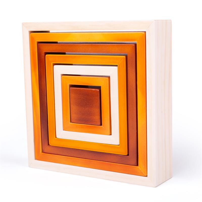 Bigjigs Baby Dřevěné skládací čtverce