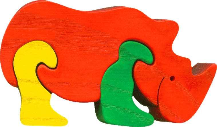 Dřevěné vkládací puzzle z masivu - vkládačka Nosorožec