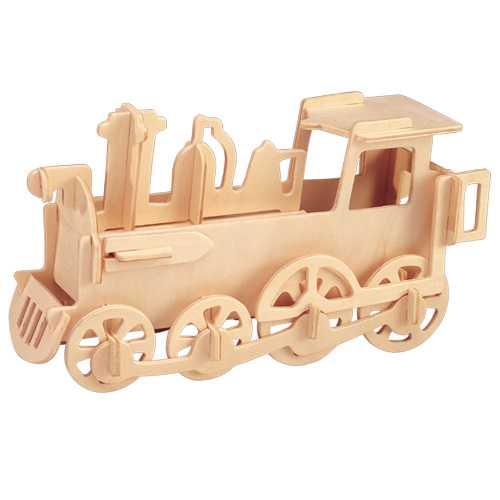 Dřevěné 3D puzzle dřevěná skládačka - malá Lokomotiva P005